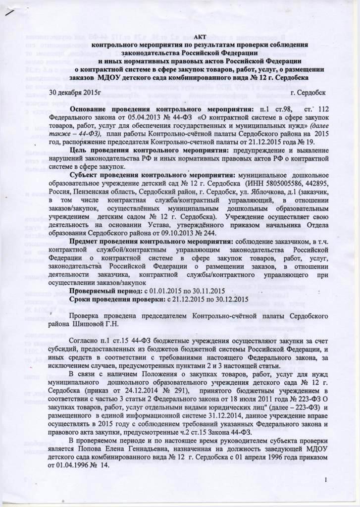 Акт проверки дошкольного образовательного учреждения счетной палатой